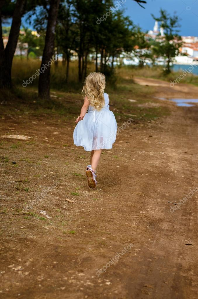 kid running away