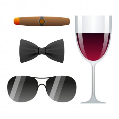 dolce vita vector illustration with cigar, glass of wine, bow tie and sunglasses