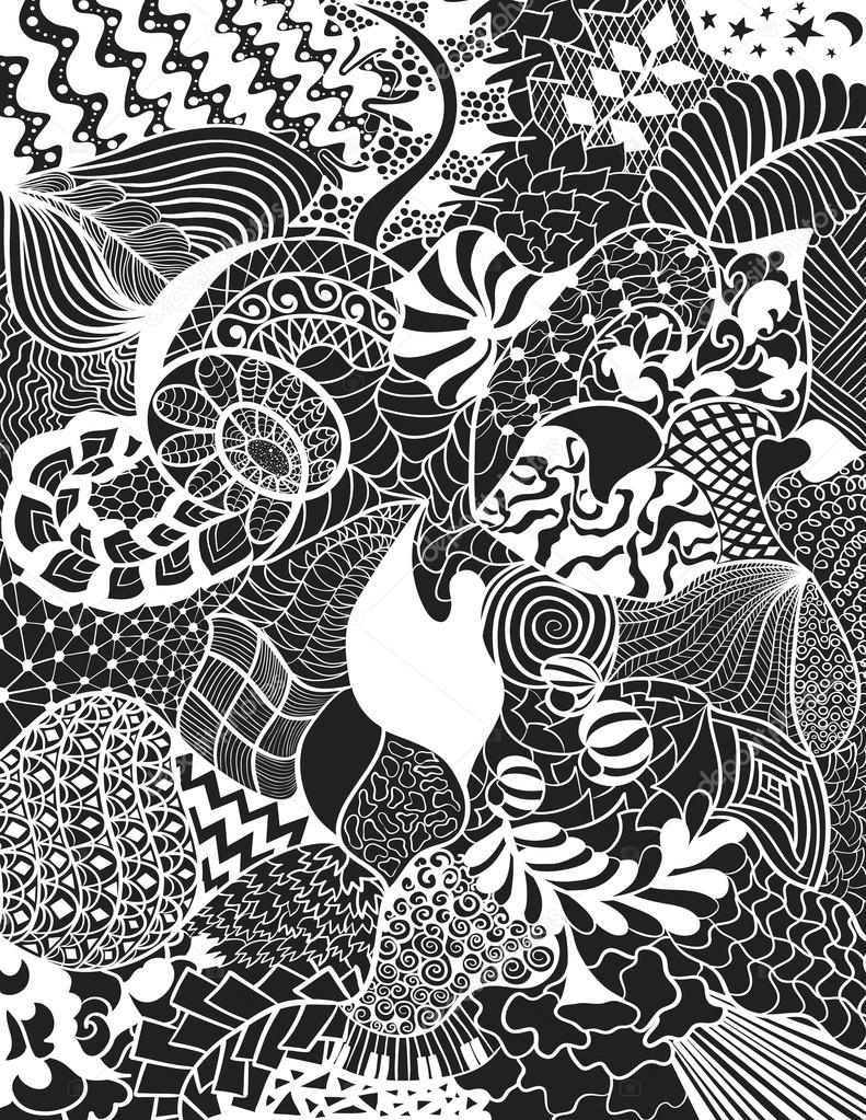 floral hand drawn zentangle ethnic pattern black and white abstract ornate background