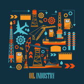 Photo Oil industry business concept of gasoline diesel production fuel distribution and transportation icons composition vector illustration