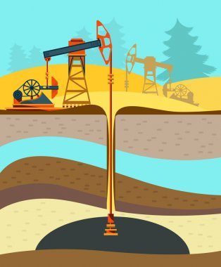 Pump jack in the Background of Fir Trees and Working Oil Pumps and Drilling Rig, Oil Pump, Petroleum Industry. Flat design. Vector Illustration