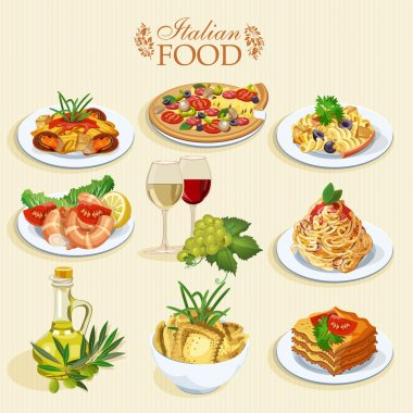 Set of food icons isolated on white background. Italian cuisine. Spaghetti with pesto, lasagna, penne pasta, pizza, olive oil, macaroni and cheese, red and white wine in glasses, prawns