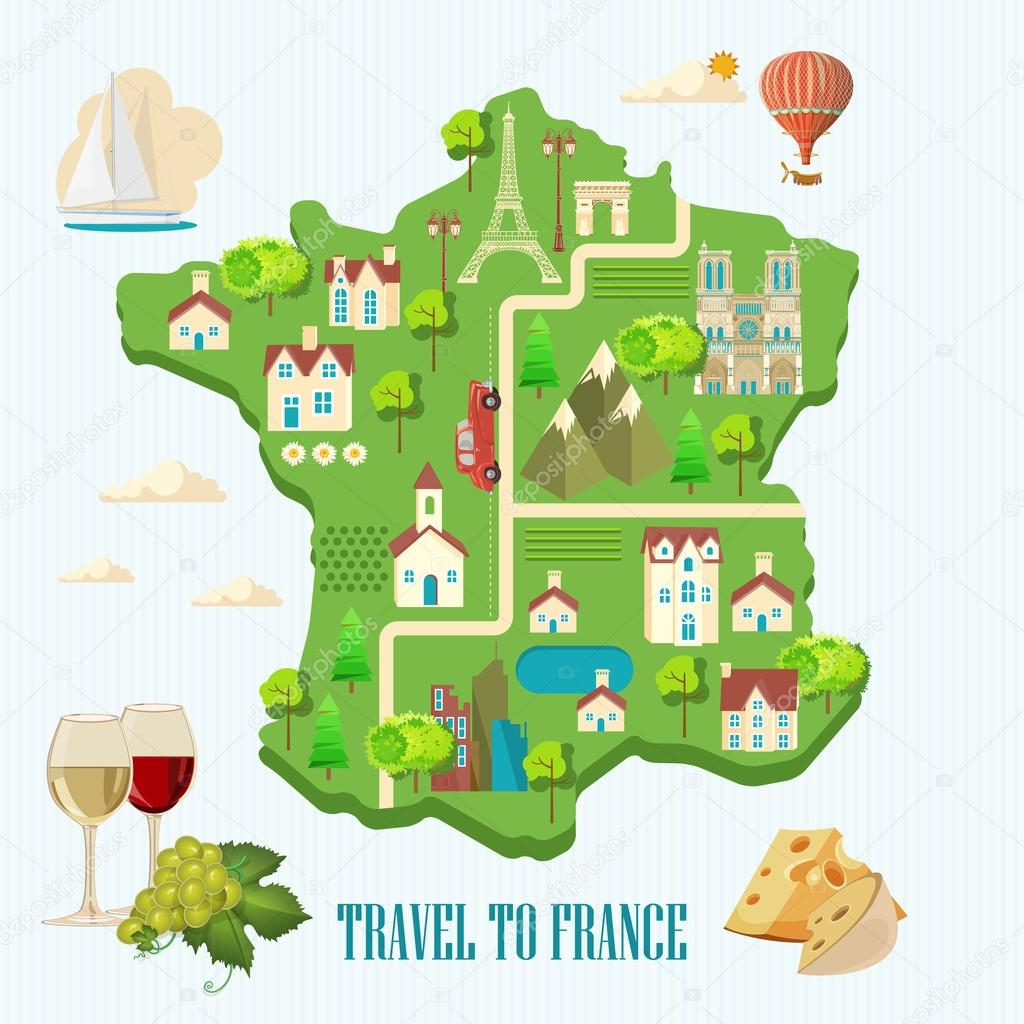 Map Of France Poster.Vector French Poster Sightseeing Of Paris And France Flat Map