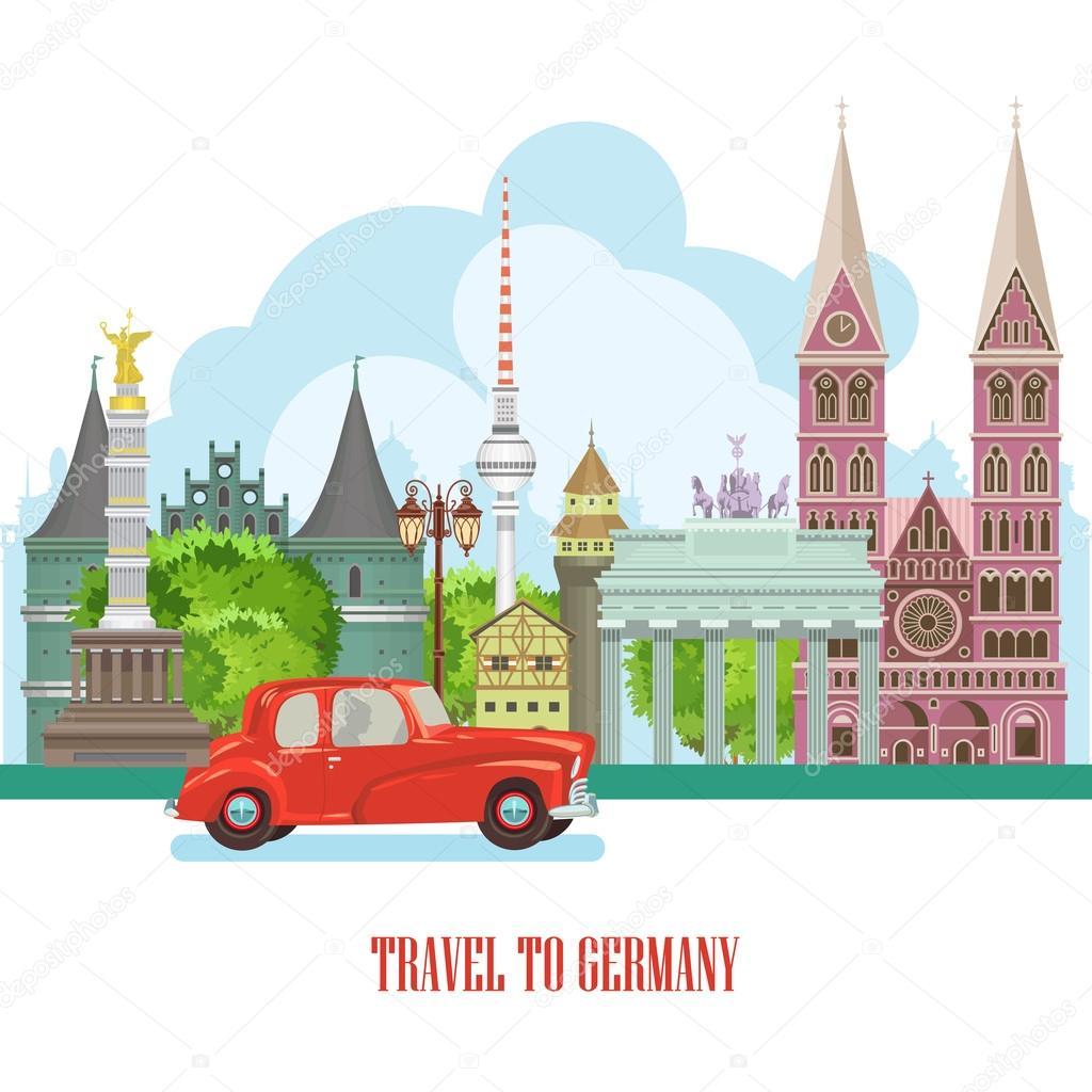 I Want To Visit Germany In German: Deutschland-Reise-Plakat. Reise-Architektur-Konzept