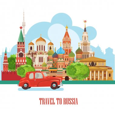 Russia vector poster. Russian background with city landmark