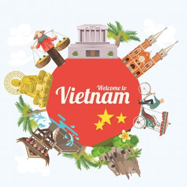 Travel to Vietnam. Set of traditional Vietnamese cultural symbols.