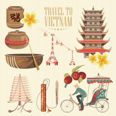 Travel to Vietnam. Set of traditional Vietnamese cultural symbols.