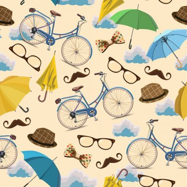 Seamless pattern with blue vintage bicycles, glasses, umbrellas, clouds, bows, hats, mustache on beige background.
