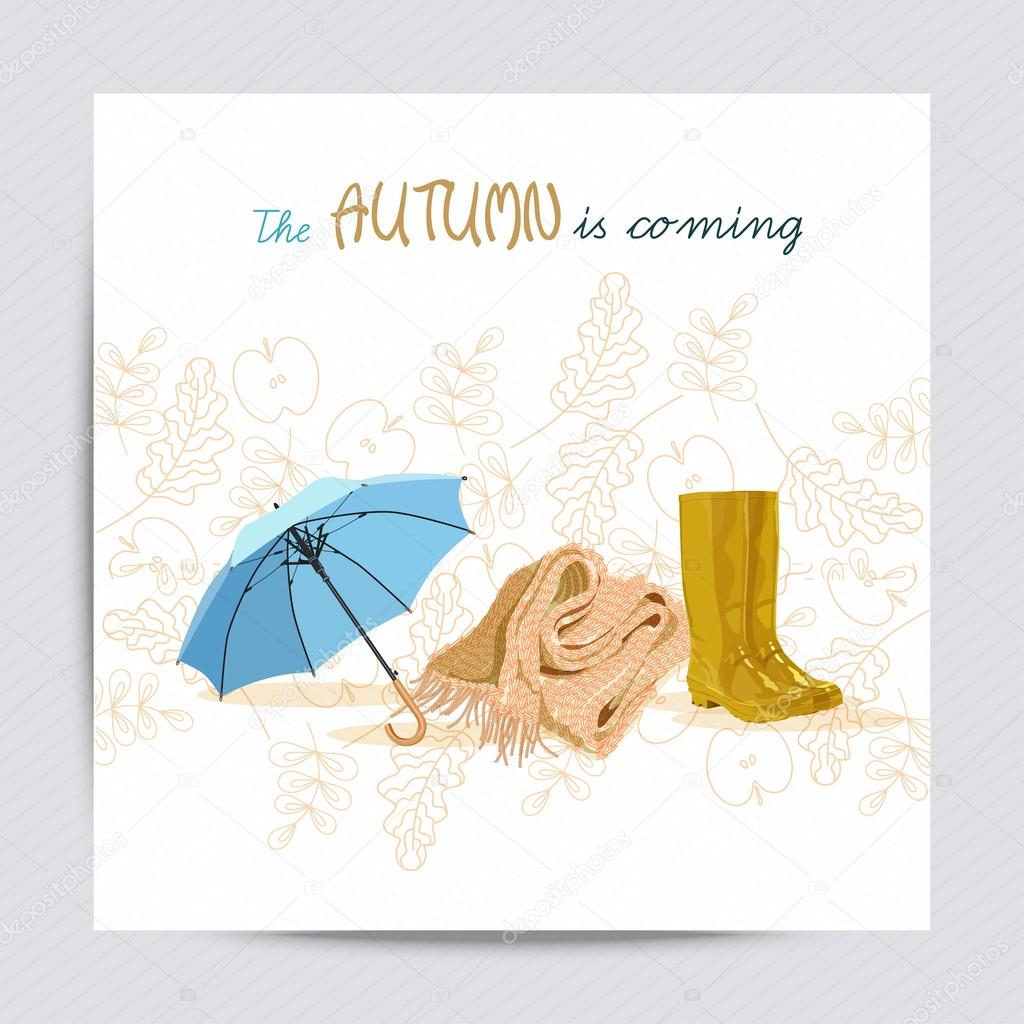 Autumn background. Set design element of fall in cartoon style. Greeting card with rubber boots, mushrooms, rain, cloud, scarf, knitted, umbrella, fall, pumpkin, autumn leaves for wedding, birthday