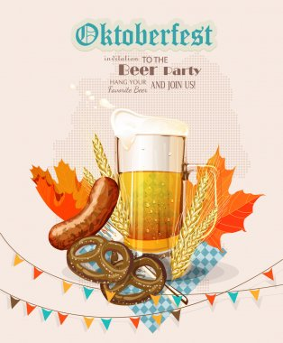 Oktoberfest greeting card. Poster with mug of beer, wooden barrel, wheat, hops, autumn leaves, beer foam, flag of Germany on background of blue rhombuses.
