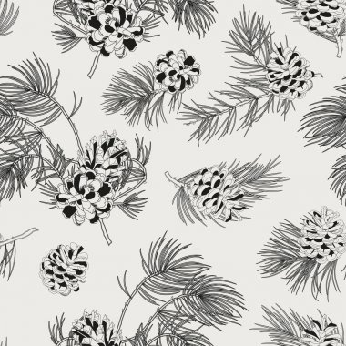 Seamless pattern with pine cones. Realistic look. Vintage background for fabric, scrapbook, poster, greeting cards.