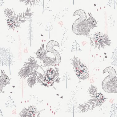 Seamless pattern with squirrels, mountain ash, pine cones, branches, trees, woods and herbs in a Scandinavian style.