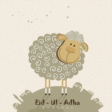 Cute sheep with stars for Muslim community festival Eid-Ul-Adha celebrations.