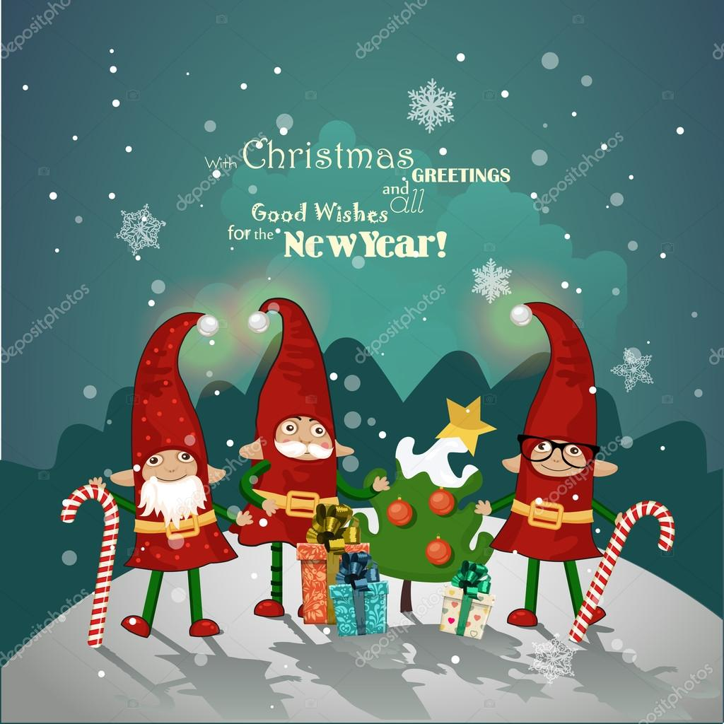 Xmas poster design - Vintage Christmas Poster Design With Christmas Elves Stock Vector 55946989