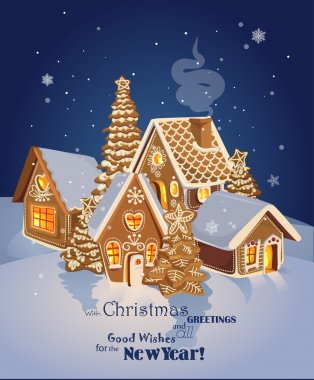 Christmas greeting card with Winter village of ginger cookies.