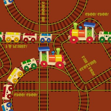 Seamless pattern with trains and railroad. Design for kids. Vector illustration in cartoon style.