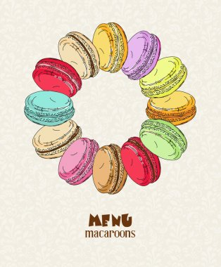 Macaroon. Poster with traditional French macaroon cakes, cupcakes and berries in vintage style. Retro card.