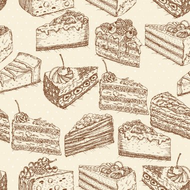 Seamless pattern with pieces of cakes, pies in doodle vintage style.
