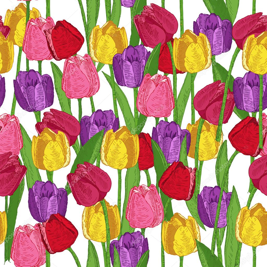 Seamless pattern with spring flowers. Tulips. Summer floral background. Texture with flowering plants in doodle vintage style. Sketch.