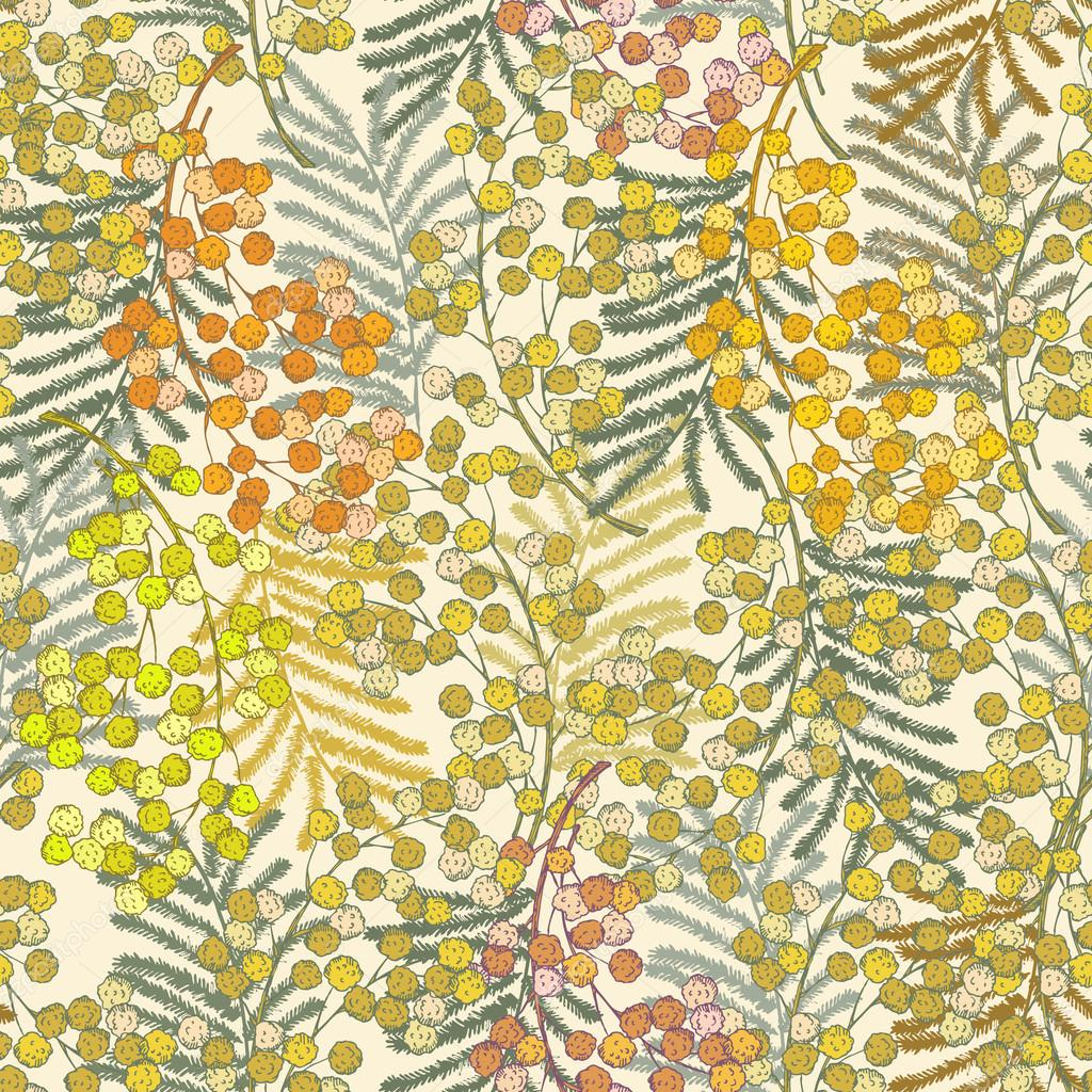 Seamless Pattern With Spring Flowers Mimosa Summer Floral