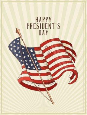 Happy presidents day Vector postcard. Sketch.