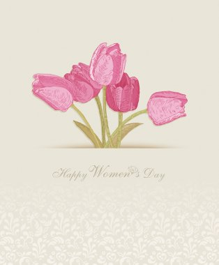 Happy Women's Day background with spring flowers. 8 March. Greeting card with text Women's Day.