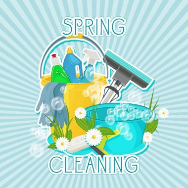 Poster design for cleaning service and cleaning supplies.