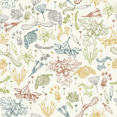 Seamless pattern with realistic seeds, plants, flowers in doodle design.