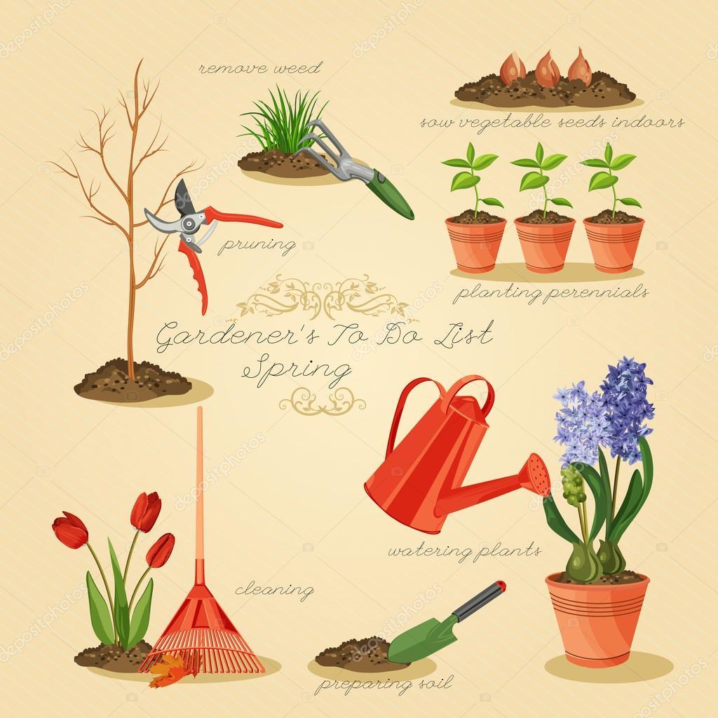 Spring gardening to do list. Card gardener set.