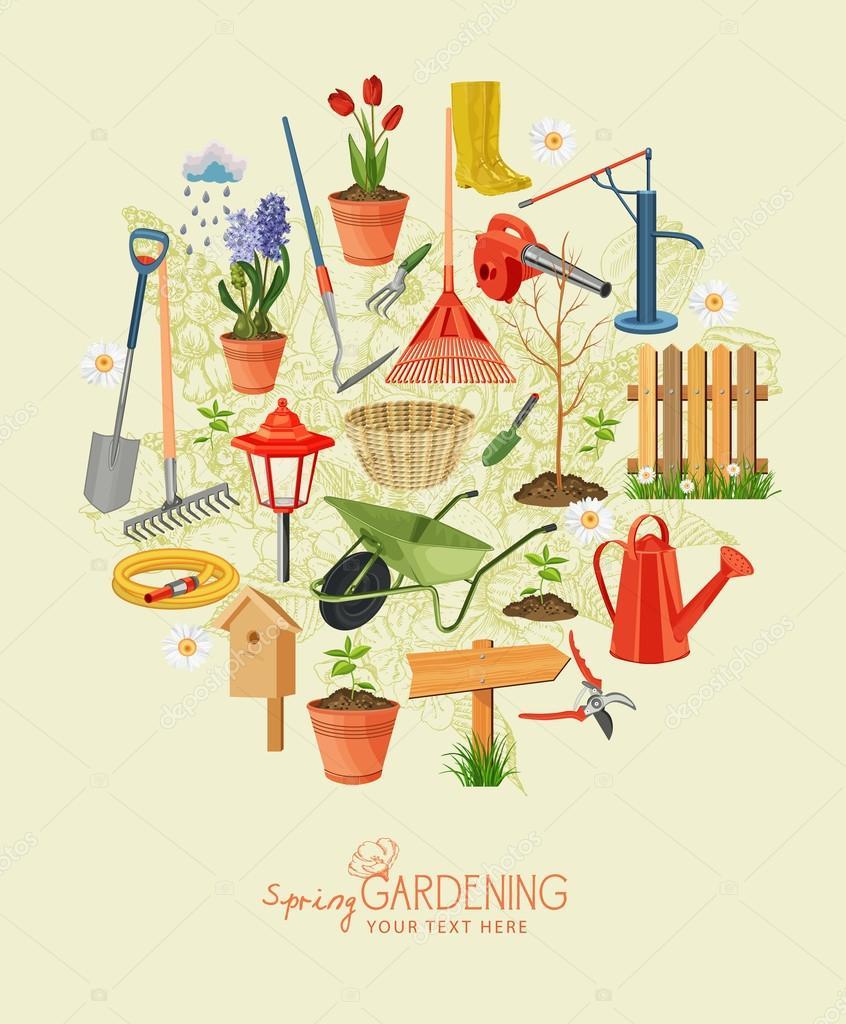 Spring Gardening. Garden Icon Set. Vintage Poster U2014 Stock Vector #67020863