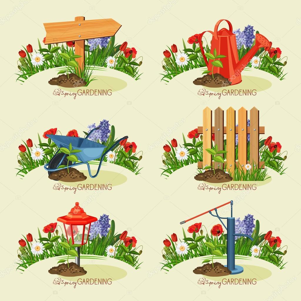 Card gardener set. Spring gardening.