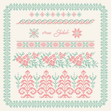 Cross stitch. Embroidered frame in folk style.