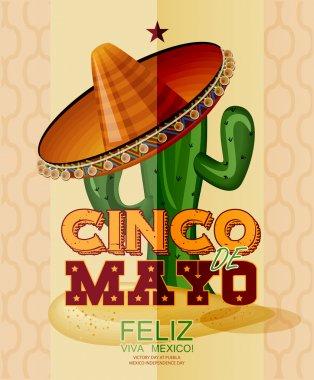 Cinco de Mayo. Feliz. Viva Mexico.  Day victory at Puebla, Mexico Independence Day.