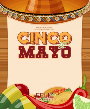 Cinco de Mayo. Poster with blank paper. Day victory at Puebla, Mexico Independence Day.