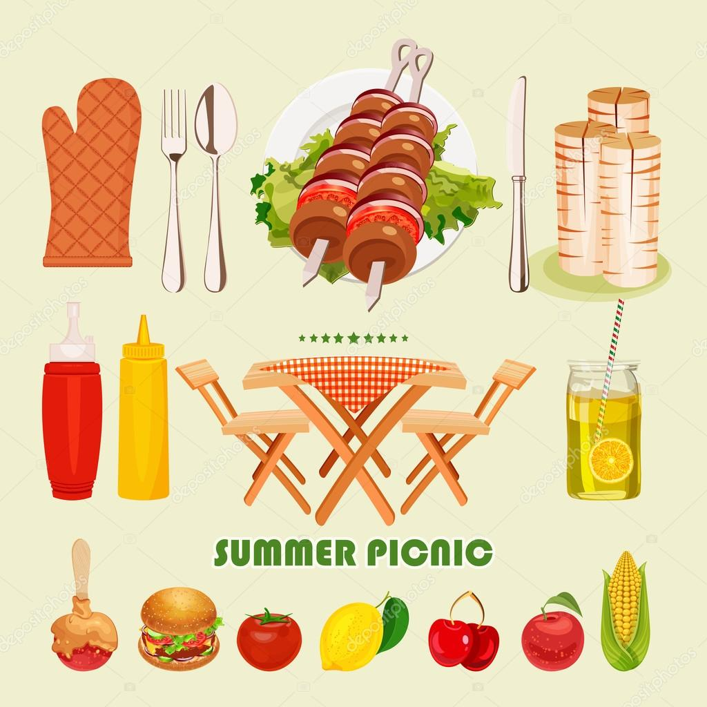 vector illustratie familie picknick zomer lente barbecue en picknick pictogrammen instellen. Black Bedroom Furniture Sets. Home Design Ideas