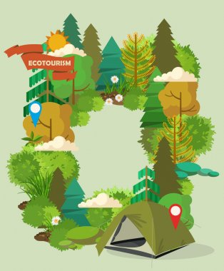 Vector illustration with equipments for Hiking and camping. Summer landscapes.