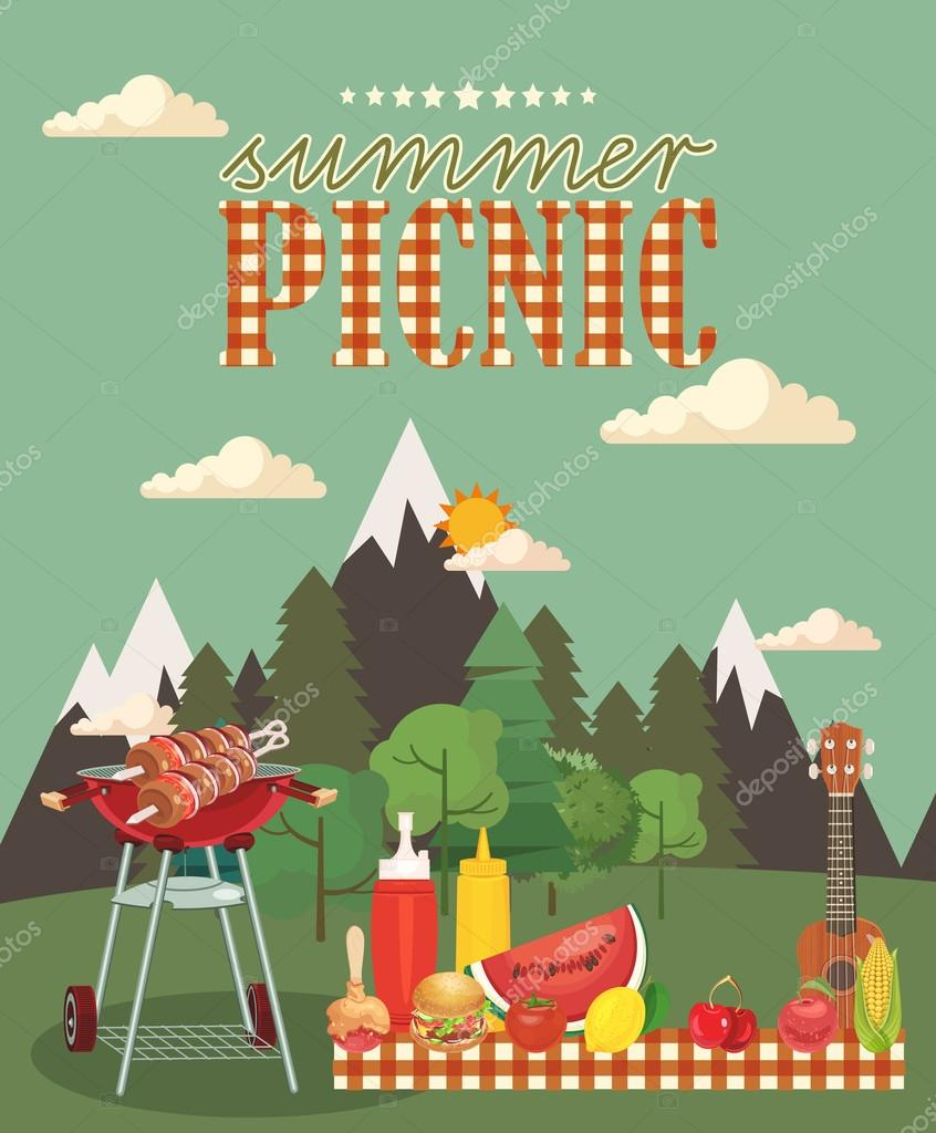 Ilustrao em vetor piquenique em famlia cones de comida e barbecue object picnic items design of invitation card in vintage style creative banner with food and nature natural ingredients on tablecloth vetor stopboris Images