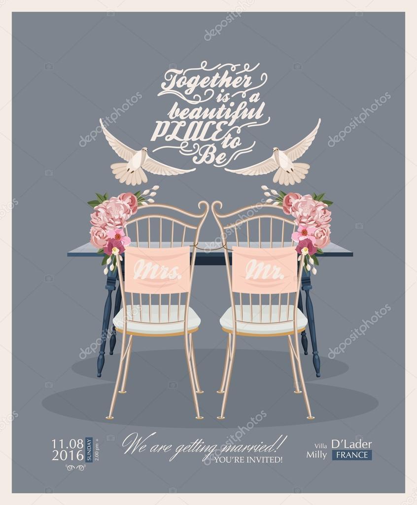 Vorlage Eines Vektors Mit Jahrgang Einladung Hochzeit Taube
