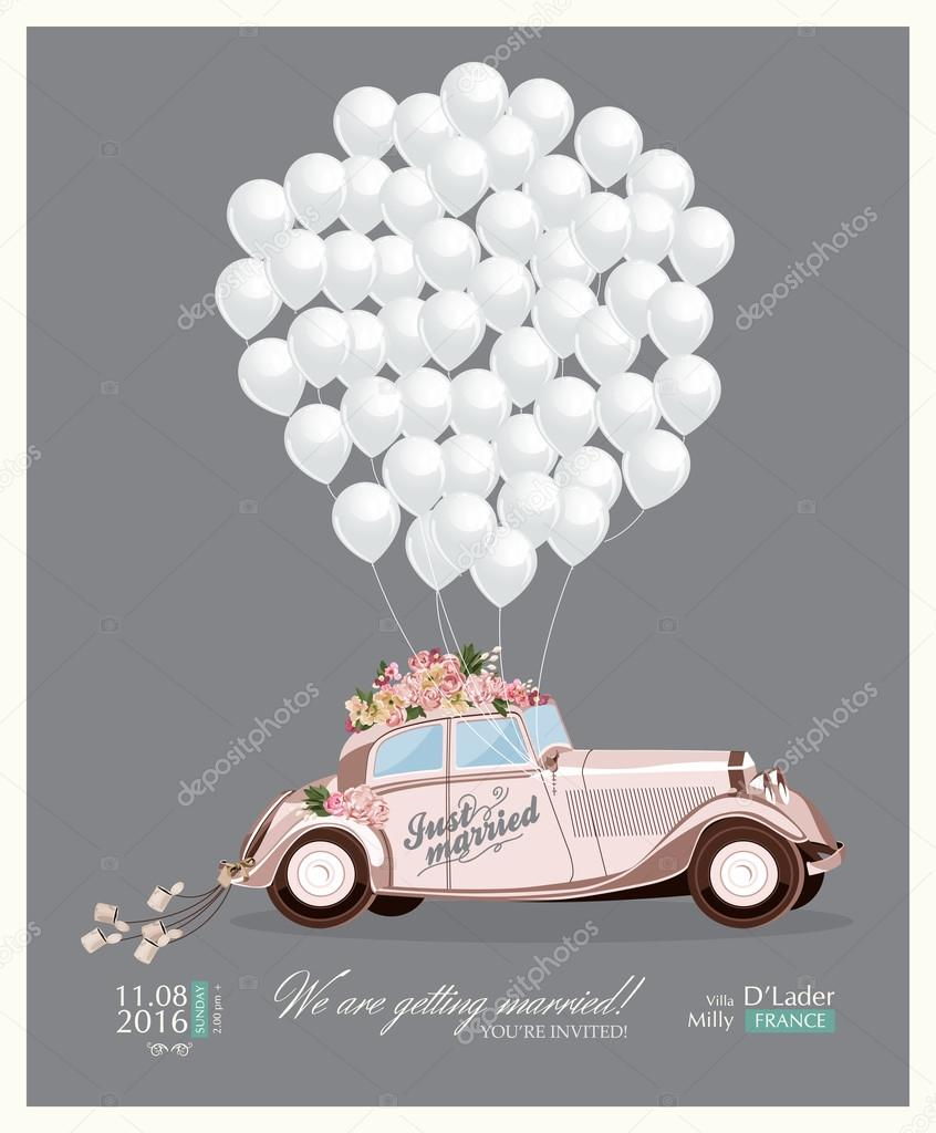 Vintage wedding invitation with just married retro car and white balloons