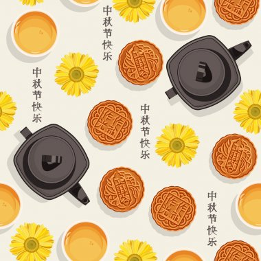 Seamless pattern with chinese tea, teapot, cups, moon cakes, flower for mid-autumn festival.