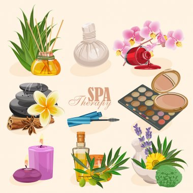 Vector set of icons spa in retro style