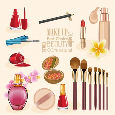 Highly detailed cosmetics icons set. Make Up and Beauty Symbols
