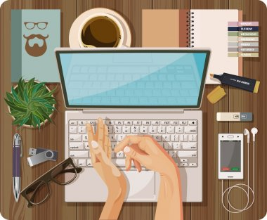 Workplace concept. Top view with textured table, computer, laptop, notebook, pen, mobile phone, headset, hands, make, flash drive, cup of coffee, plant in flowerpot