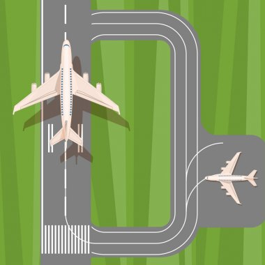 Runway with jet aircraft top view. Takeoff and landing airplanes set. stock vector