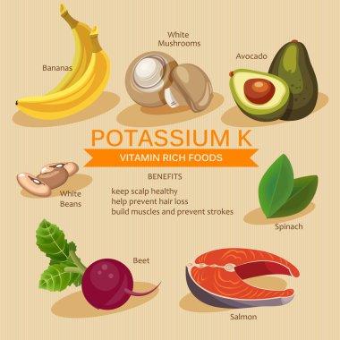 Potassium foods. Vitamins and Minerals foods Illustrator. Vector set of vitamin rich foods.
