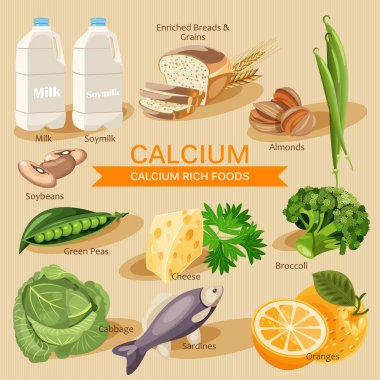 Vitamins and Minerals foods Illustration. Vector set of calcium rich foods. Calcium. Milk, soymilk, broccoli, oranges, soybeans,sardines, yogurt, okra, spinach, cheese,green beans and other