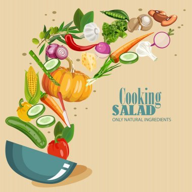 Cooking infographics. Fresh salad. Detailed Vector Icon.