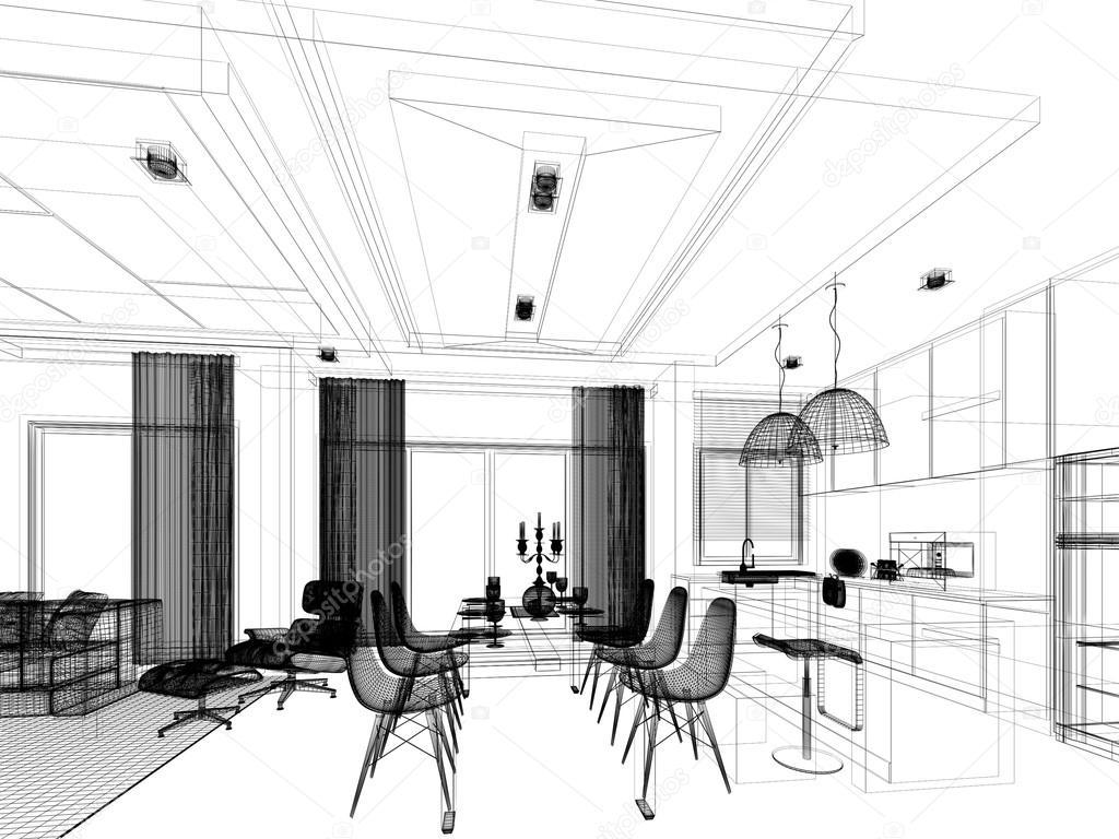 Abstrakte skizze design des restaurants und k che for Innenraum design
