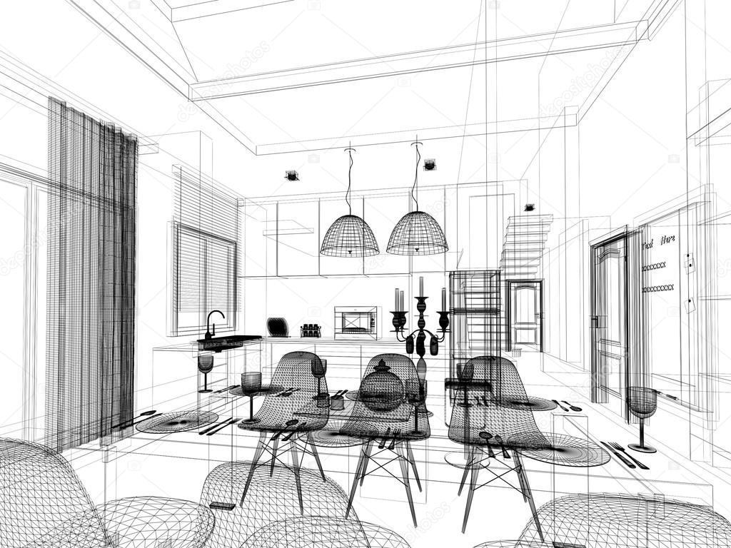boceto abstracto diseño de interior sala comedor y cocina, 3d ...