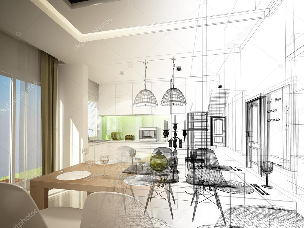 Dise o de interiores sala comedor y cocina boceto for Diseno de interiores sala de estar comedor